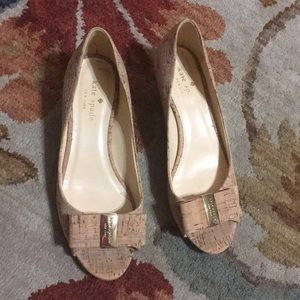 Kate Spade ♠️ open toe cork wedges with bow